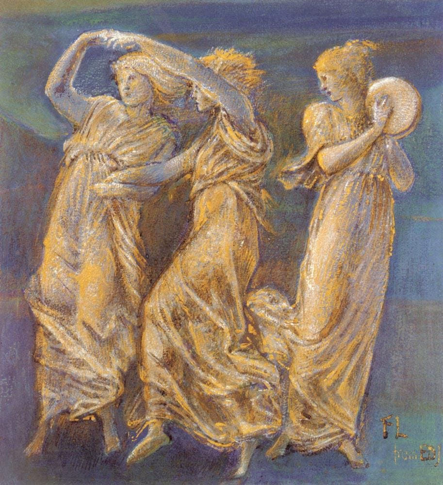 three female figures dancing and playing